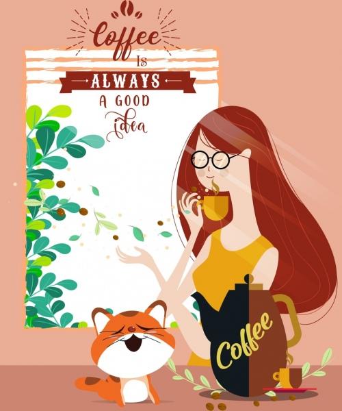 lifestyle banner woman cat coffee icons cartoon design