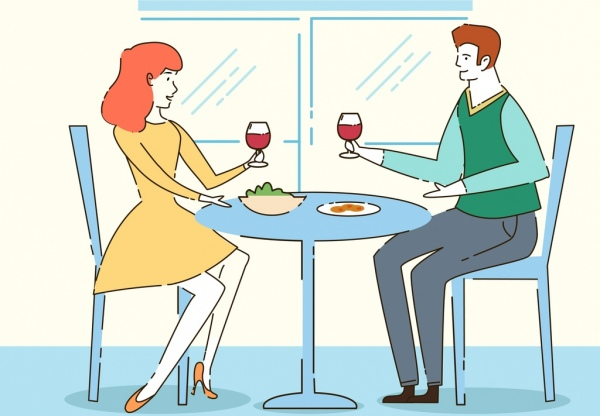 lifestyle drawing cheering couple dinner table handdrawn design