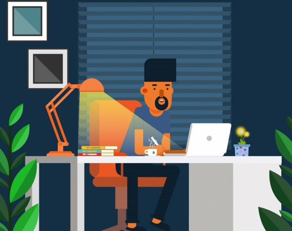 lifestyle drawing working man desk lamp icons