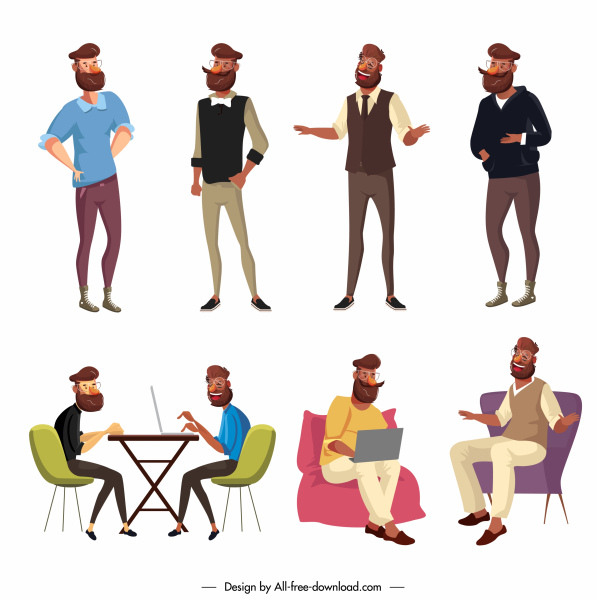 lifestyle icon modern man activities sketch cartoon characters