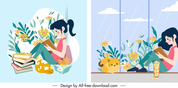 lifestyle icon woman reading book sketch cartoon design