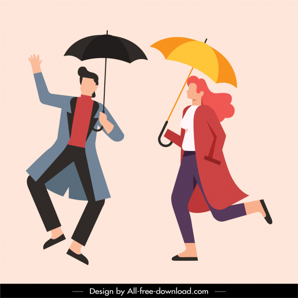 lifestyle icons umbrella fashion sketch cartoon characters