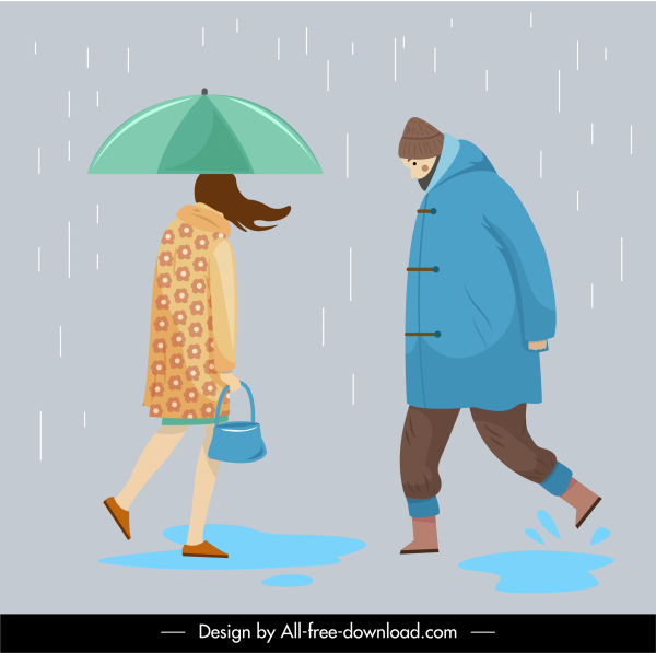 lifestyle icons walking people rainy sketch cartoon characters