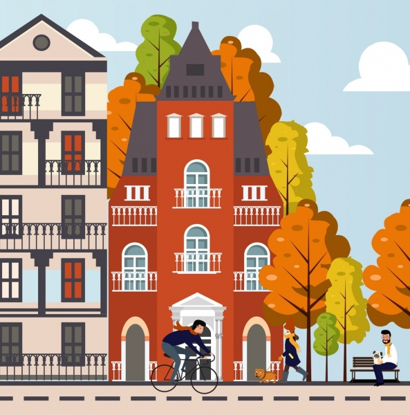 lifestyle painting buildings people activities icons cartoon design