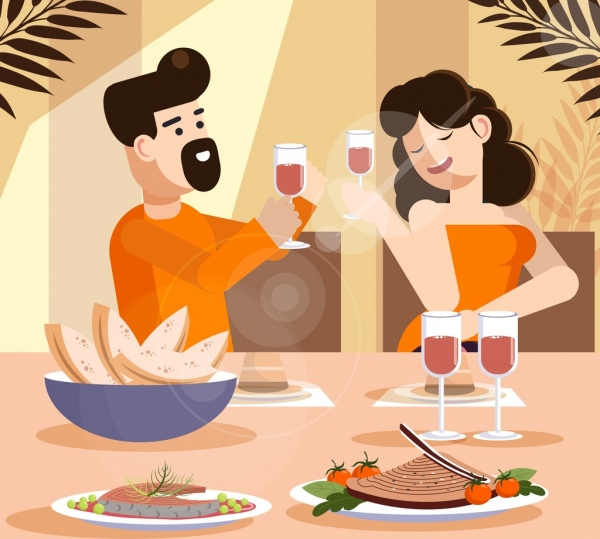 lifestyle painting cheering couple food dinner icons