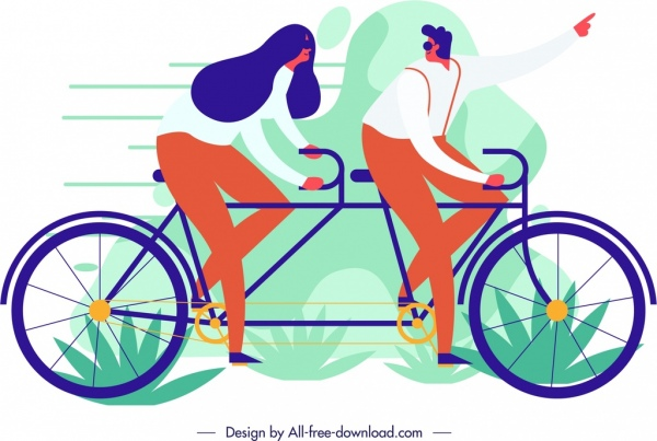lifestyle painting couple bicycle icon cartoon sketch