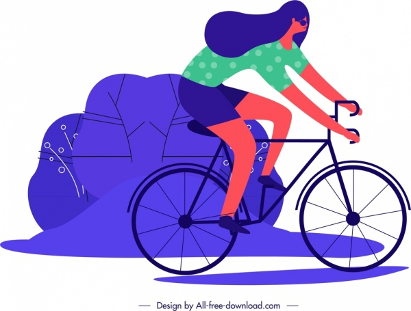 lifestyle painting female cyclist icon cartoon sketch