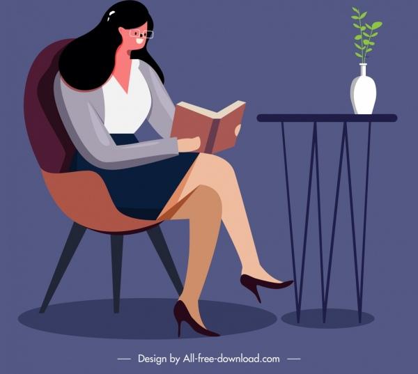 lifestyle painting girl reading book icon cartoon design