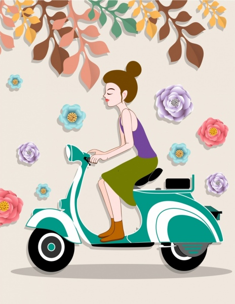 lifestyle painting girl scooter icons paper cut decor