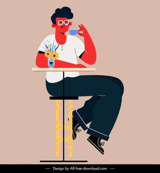 lifestyle painting man drinking coffee sketch cartoon design