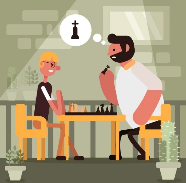 lifestyle painting men playing chess icon cartoon design