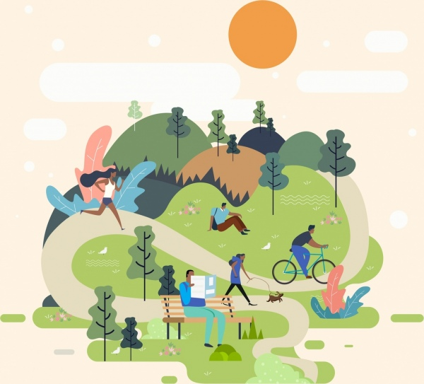 lifestyle painting people activities park icons cartoon design