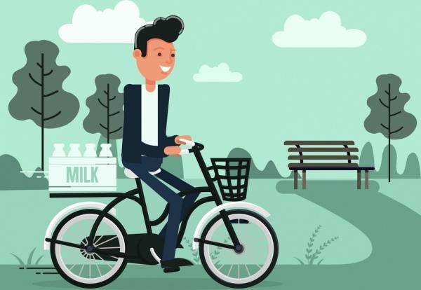 lifestyle painting riding man milk icons cartoon design