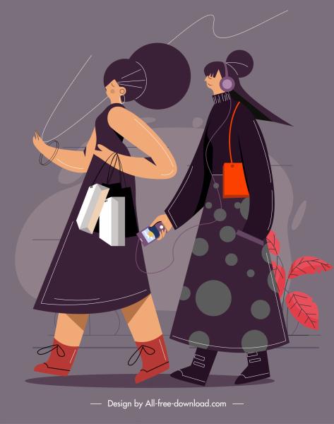 lifestyle painting shopping girl sketch cartoon design