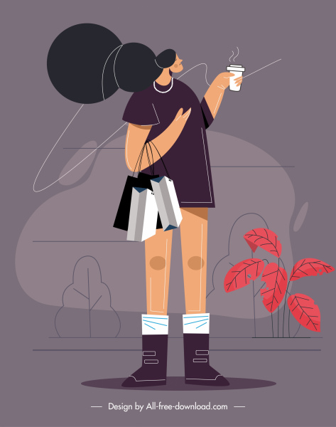 lifestyle painting shopping lady icon cartoon sketch
