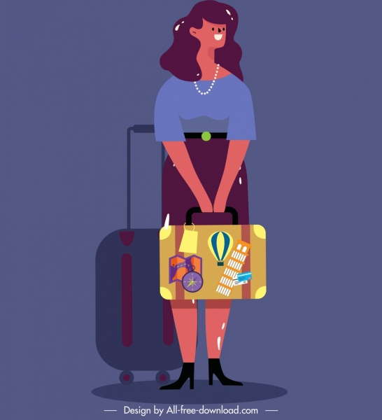 lifestyle painting travelling woman icon cartoon character sketch