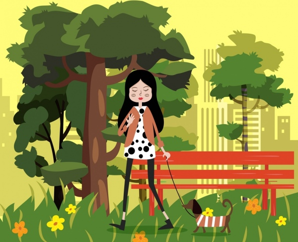 lifestyle painting walking woman pet park icons