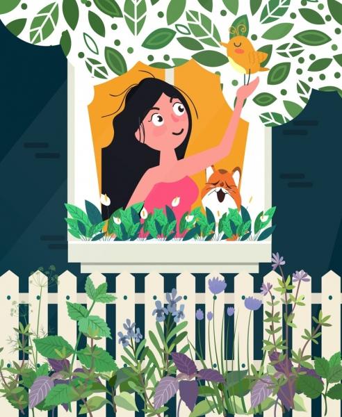 lifestyle painting woman cat bird garden icons decor