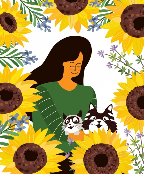lifestyle painting woman pets sunflowers icons cartoon design
