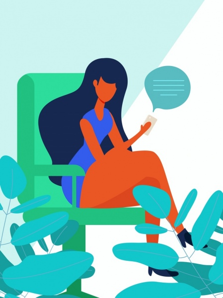 lifestyle painting woman smartphone communication icons