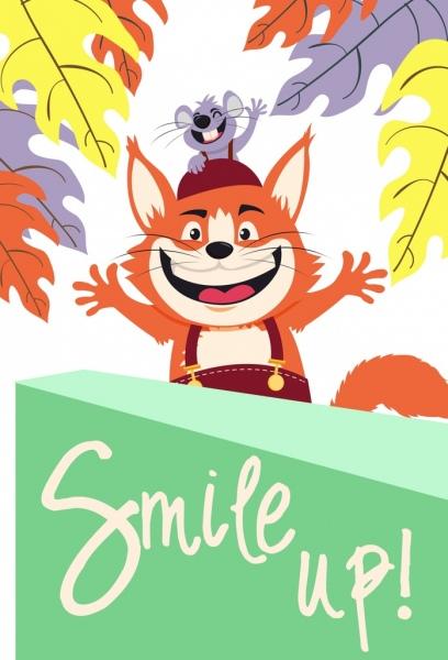 lifestyle poster joyful mouse cat icons funny cartoon