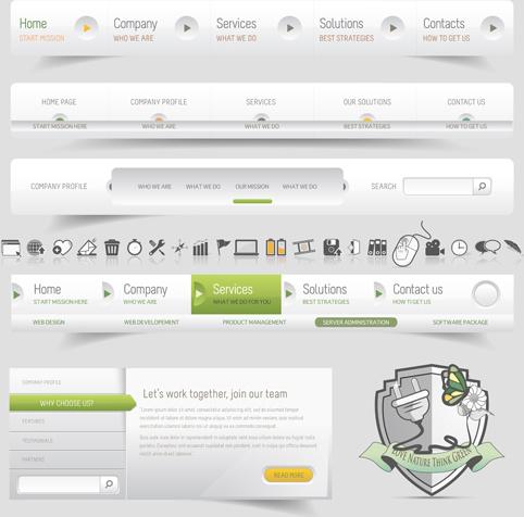 light colored web navigation vector design