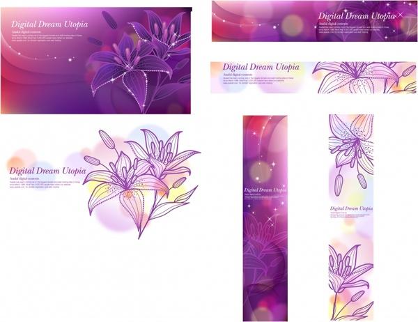 flower background sets lily sketch bokeh violet design