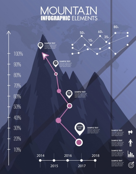 line chart infographic mountain icon decoration