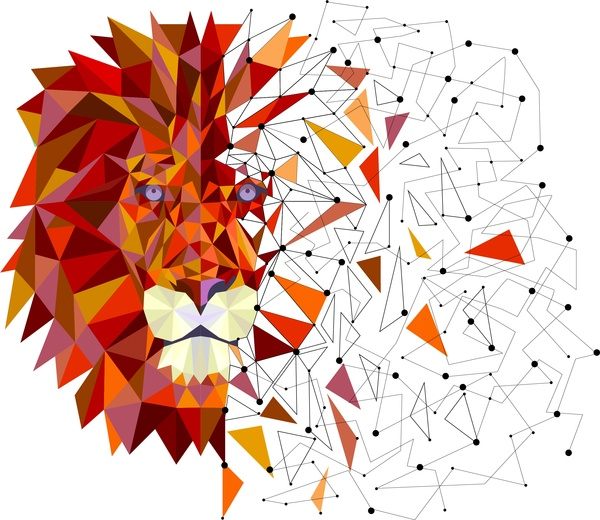 lion head in geometric design vector free vector in adobe
