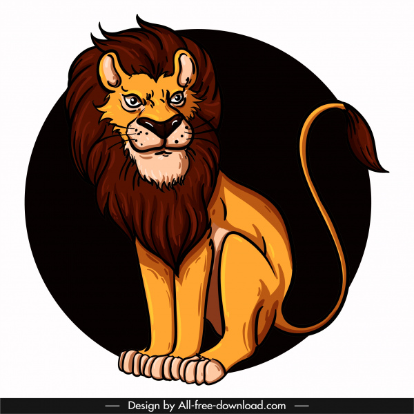 lion icon sitting sketch colored cartoon character