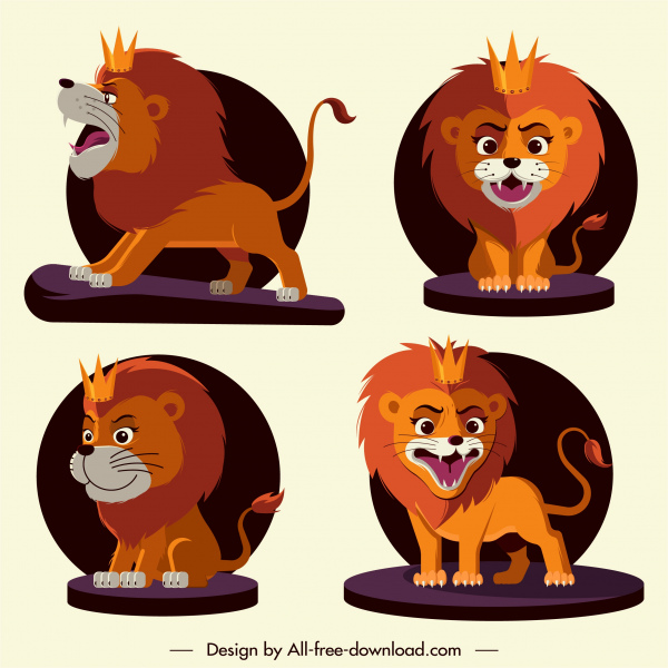 lion king icons cute cartoon character sketch