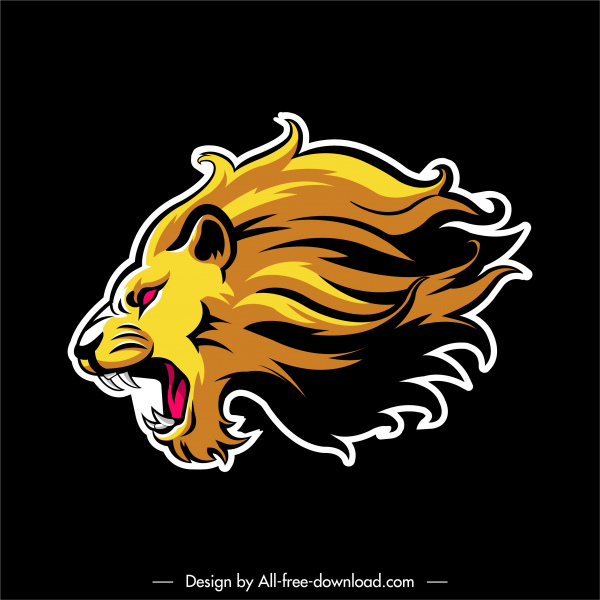 lion label template colored flat sketch powerful design