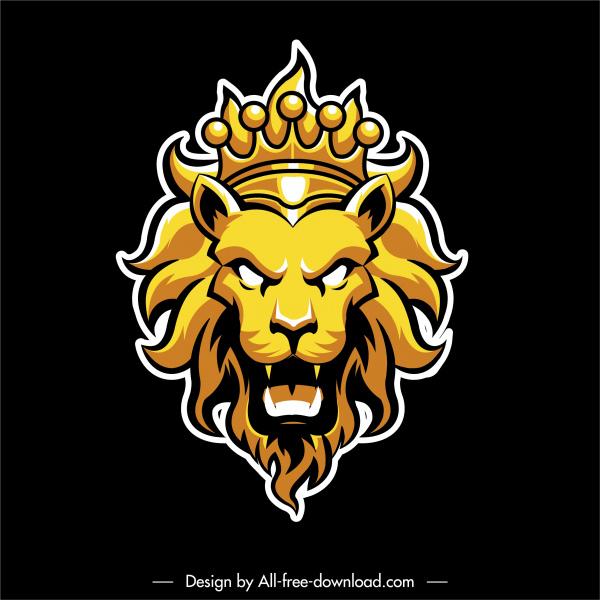 lion logotype emotional face sketch shiny yellow decor