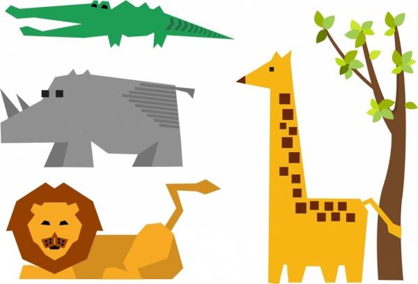lion rhino crocodile giraffe icons design origami style