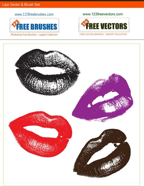 lips free vector and photoshop brush