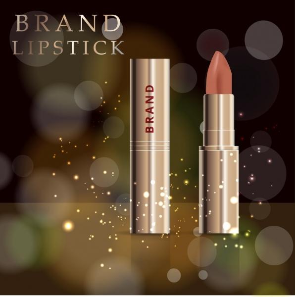 lipstick advertisement realistic design bokeh light ornament