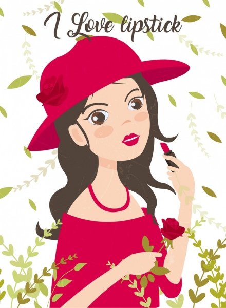 lipstick advertising young girl icon flowers decor