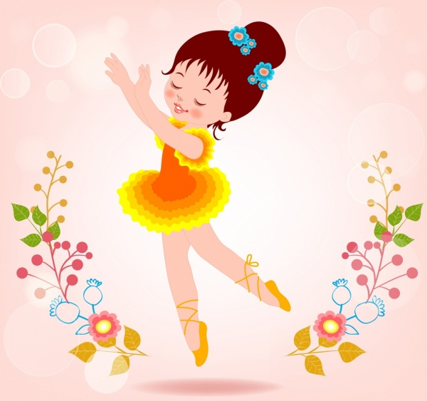 little ballerina dancing background colorful cute cartoon decoration