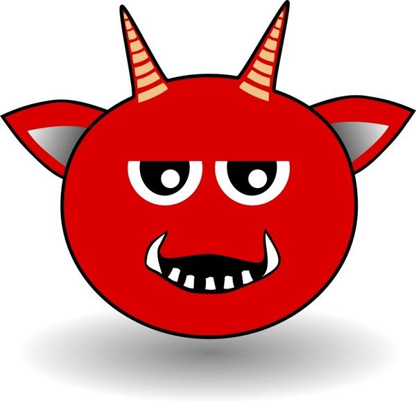 Little Red Devil Head Cartoon