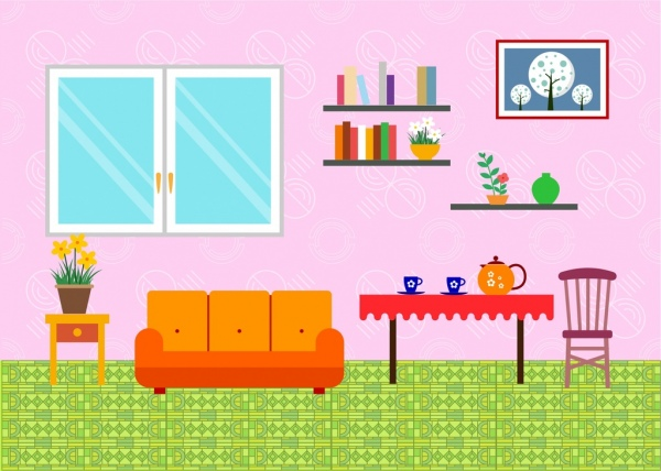 Living room arrangement sketch simple style Free vector in Adobe ...