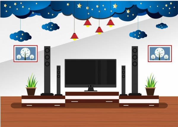 Living Room Decor Design 3d Cloud Stars Decoration