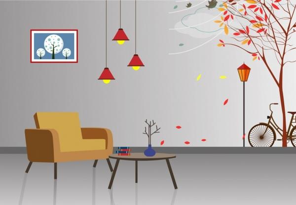 living room decor design autumn style ornament