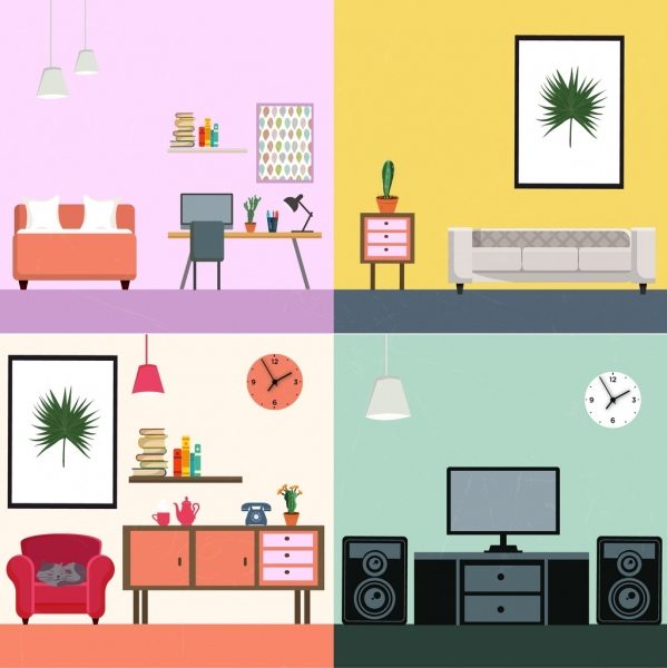 Living Room Decoration Sets Modern Furniture Icons Free Vector 427MB