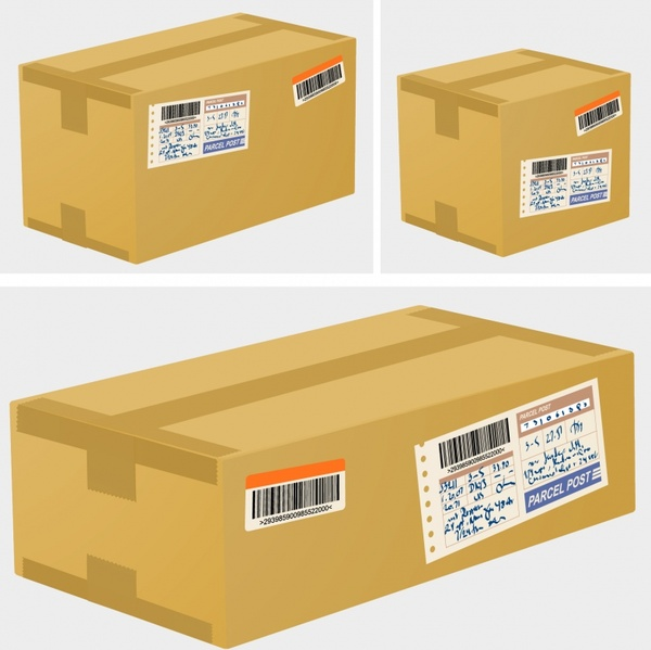 freight boxes icons modern colored 3d sketch
