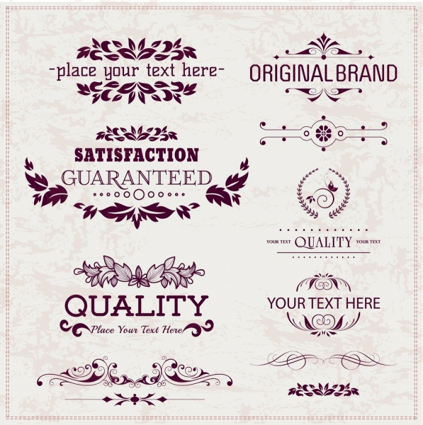 logo decorative design elements classical symmetric decor