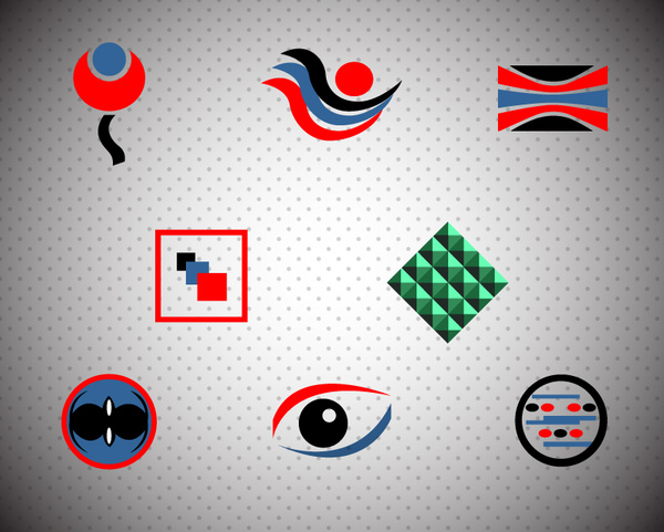 logo design elements with various colored shapes illustration