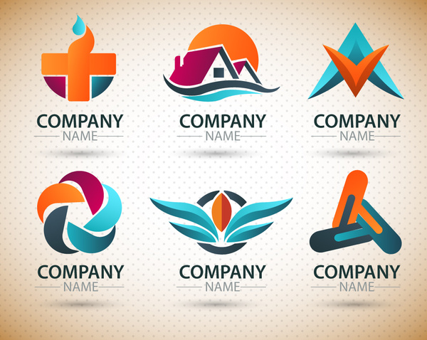 logo design elements with various shapes illustration