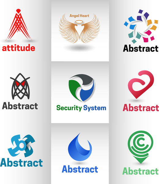 logo design with various abstract shapes illustration