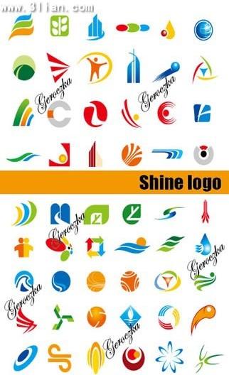 logo templates collection colored flat symbols decor