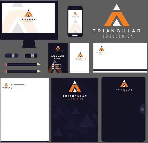 logo identity sets flat triangular decoration